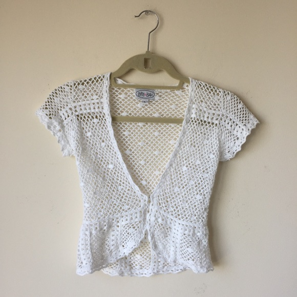 Girls White Crochet Sweater